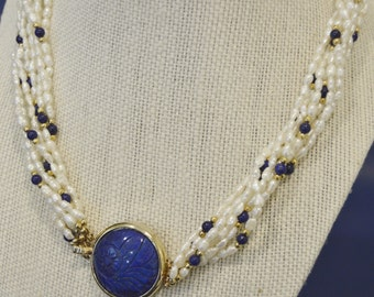 Beautiful Vintage Gold over Sterling Silver 925 Lapis and Fresh Water Pearl Multi Strand Necklace with Carved Lapis Pendant