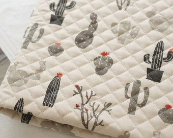 Quilted Oxford Cotton Fabric Cactus By The Yard