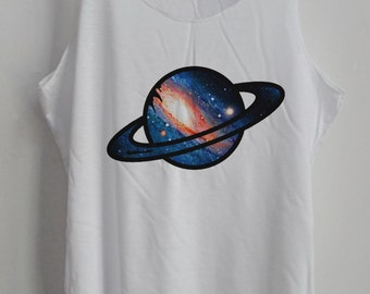 PLANET Shirt Galaxy Vintage Tank Top Art  T-Shirt  Shirt Shirt Women Moon  Shirt  Women T-Shirt Tunic Top Vest Sleeveless Size S,M,L