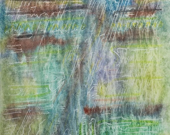 Abstract Watercolor Landscape Art, Painting. Contemporary Landscapes. 'Rain And Train', 12.5 X 9.5 Inches, Original artwork on paper.