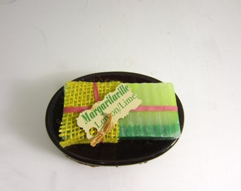 "Lemon/Lime ""Margaritaville"" Spectacular Handmade soap bar, Beautiful bar with natural Essential oils"