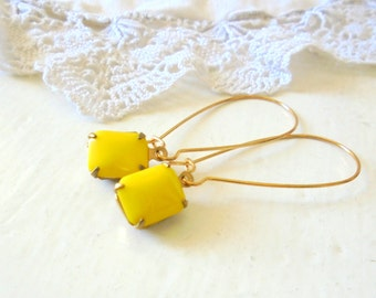 Yellow Jewel Earrings, Elongated Earrings, Bohemian Festival Earrings, Bright Jewelry, Gift for Her