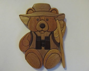 Intarsia hiker bear