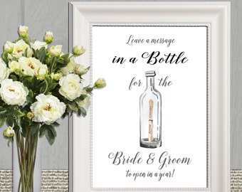 Wedding message in a Bottle Sign Wedding Guest book sign Printable Beach Wedding Digital print Personalized Wedding sign DIY Wedding table