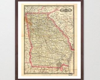 Georgia Map Etsy - Ga map