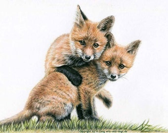 Fox Puppies - Fine Art Print 30x40cm
