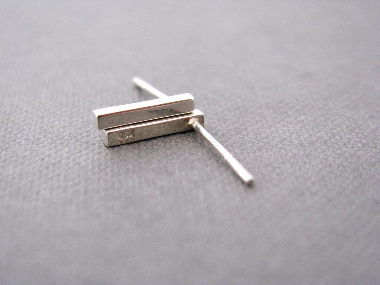solid silver bar stud earrings sterling by juditmatyusdesign