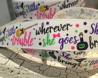 "New 7/8"" HALLOWEEN potion Glitter where ever she goes trouble Grosgrain Ribbon sold by the yard"