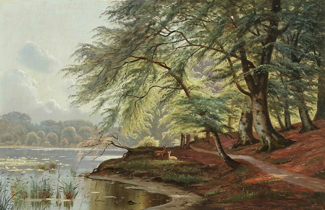 Forest scenery with deer by a lake counted cross stitch for Deer scenery