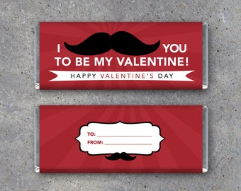 Valentine's Day Candy Bar Wrappers – Printable Instant Downloads – Mustache Candy Bar Wrapper Valentines, Gift Tag, School Treats, Candygram