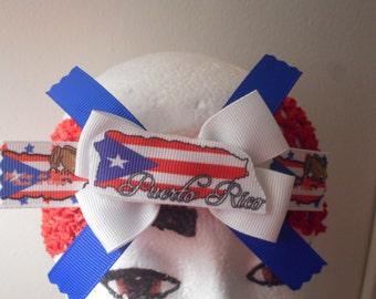 Puerto Rico/Boricua White Hair Bow Red Stretchy Wide Headband   (RTS)