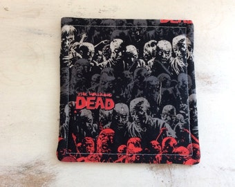 Walking Dead Coasters Set of 4 Reversible Black Red Gray Zombie Motif Hostess Gift Party Favor Home Decor Teacher Gift  DEAD YOURSELF!