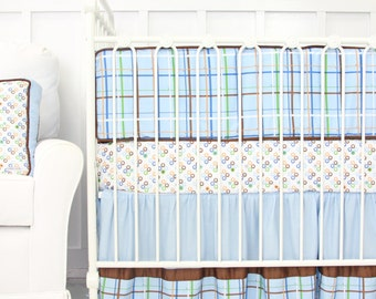 CLEARANCE {reg price 389}   3pc Set Inculdes crib skirt, sheet, and bumpers   Gabe Vintage Style Baby Bedding