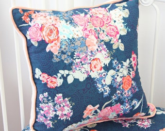 Coral & Navy Floral Square Pillow   Charlie's Navy and Coral Floral Collection   Charleigh's Navy and Coral Floral Collection