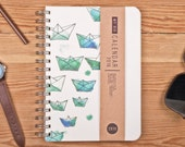 Planner 2016 September - 2017 September. Year Weekly Day Calendar Diary Spiral Calendario Calendrier Journal A5 Origami Ships Paper Boat!