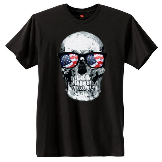 Skull american flag shades t shirt awesome patriotic tees for American apparel custom t shirts