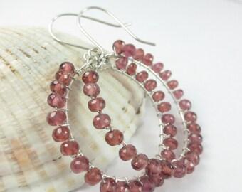 Garnet Earrings, Argentium Silver Garnet Earrings, Sterling Silver Wire Wrapped Hoops, Red Garnet Hoop Earrings, January Birthstone (#1053)
