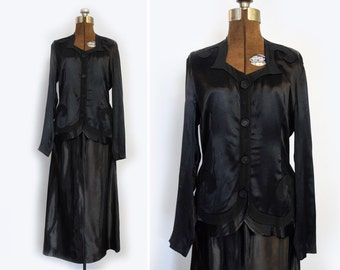 1930s Crepe Back Silk Satin Two Piece Jacket Blazer and Skirt Suit Set
