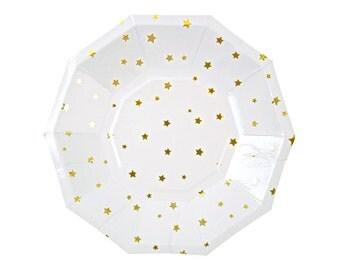 8 x Geometric Mettallic Gold Stars paper plates- Meri Meri Birthday Plates / Floral Vintage  / Blossom Paper Plates / Disposable Plates