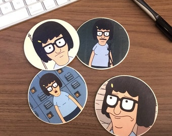 """Faces of Tina Wooden 3"""" Round Car Coasters"""