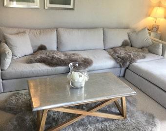 Soft Grey Gray Beautiful Eco Superior Sheepskin Rug Throw