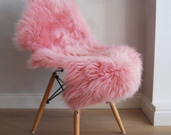 Pink British sheepskin Rug! Beautiful baby pink, powder pink,  Luxuriously thick and soft fleece large sheepskin Throw