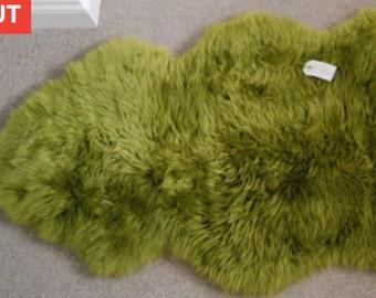 WOW! Large Lime Green Sheepskin Rug Throw Rare! Genuine Eco Sheepskin