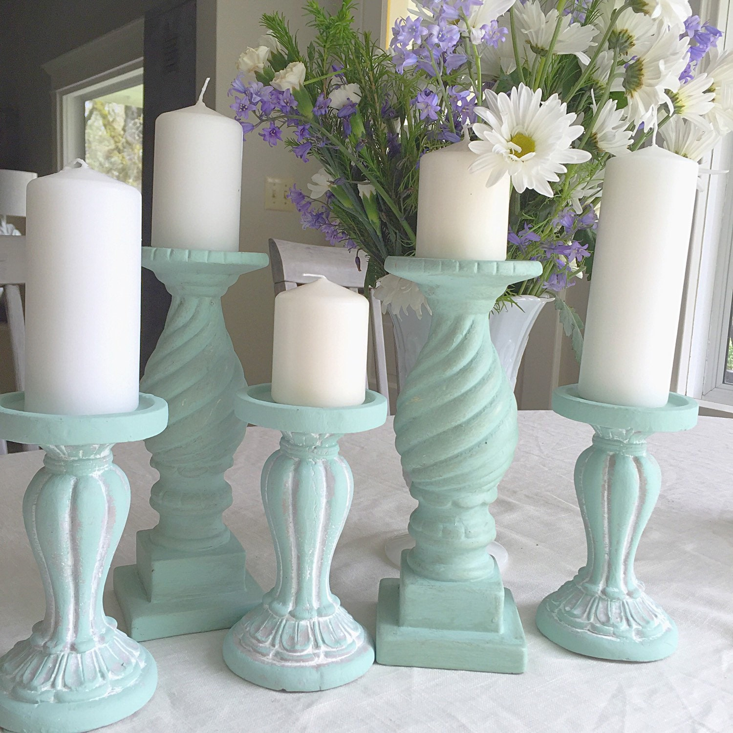 Shabby Chic Decor: Shabby Chic Candle Holders French Blue Wedding Table