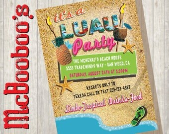 Super Fun Tropical Luau Hawaiian Tiki Beach Party Invitations great for Graduations or any occasion