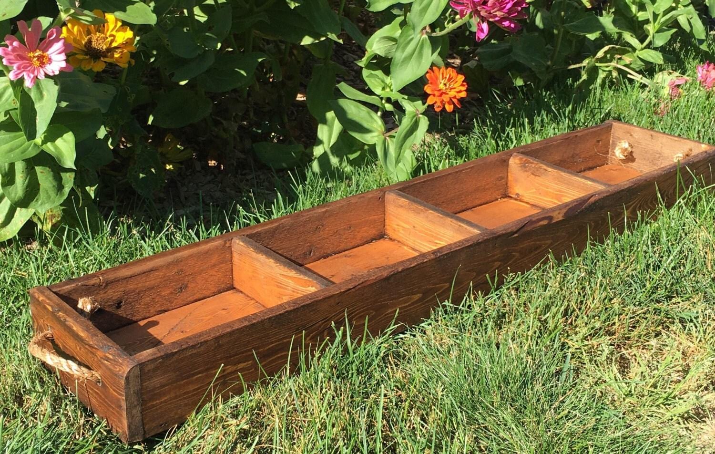 Farmhouse tray trough table centerpiece wood planter