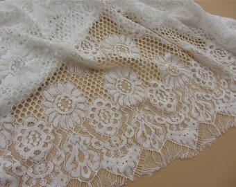 """Eyelash lace fabric White wedding Lace / ivory white 59"""" wide white Wedding Lace Fabric,cotton  lace fabric-LSMWC016"""