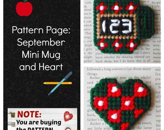 "Plastic Canvas Pattern Page: ""September Mini Mug and Heart"" (2 designs, graphs and photos, no written instructions) ***PATTERN ONLY!***"