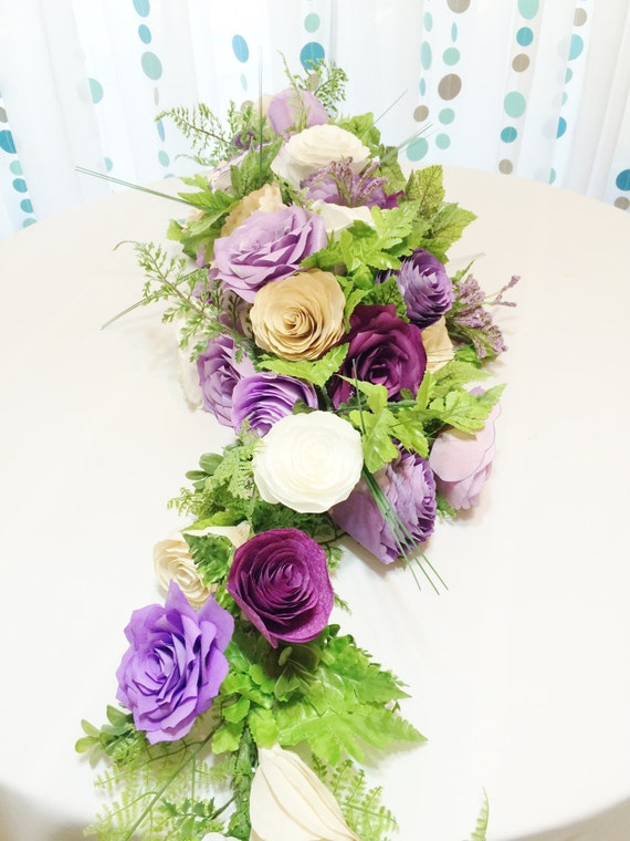 Items similar to Floral garland, Purple artificial flower arch, Table runner, Paper flower arch