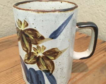 Vintage Stoneware Mug with Handpainted Blue/Brown Flowers
