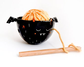Halloween Special. Ceramic Black Vampire Yarn Bowl/ Knitting Bowl/ Crochet Bowl, Decorated in White and Pink. Made To Order