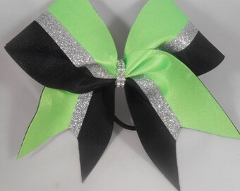 Cheer Bow Lime Green Silver Glitter Black by blingitoncheerbowz