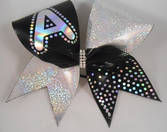 Cheer Bow totally CUSTOM any LETTER w Bling Black / Silver (or other colors) BlingItOnCheerBowz