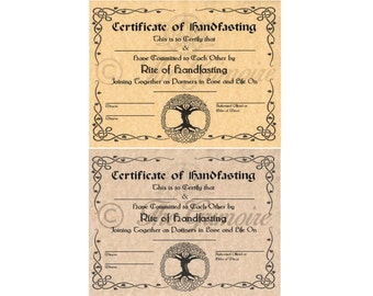 Handfasting Certificate, Hand Fasting Certificate, Engagement, Pagan Promising, Wicca, Wiccan, Witchcraft, Book of Shadows Page