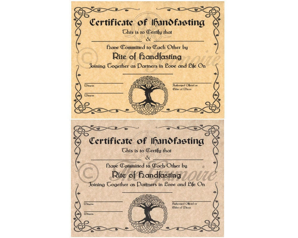 Handfasting Certificate, Hand Fasting Certificate, Engagement, Pagan  Promising, Wicca, Wiccan,