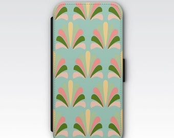 Wallet Case for iPhone 8 Plus, iPhone 8, iPhone 7 Plus, iPhone 7, iPhone 6, iPhone 6s, iPhone 5/5s - Art Deco Palm Patterned Case