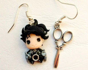 Tim Burton Edward Scissorhands FAN ART Mani di Forbice Earrings of Necklace Handmade Fimo