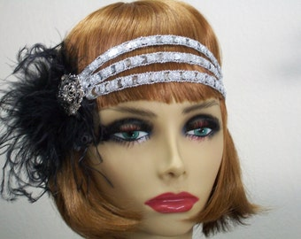 1920s headband, Flapper headband, 1920s headpiece, Gatsby headband, Great Gatsby, Art Deco headband, 1920s hair accessory, Vintage inspired