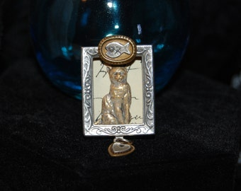 Framed Kitty Cat Brooch in Vintage Mixed Metals and Paper #BKC-KBRCH87