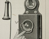 1900 Antique print of ANCIENT TELEPHONES. PHONES. 116 years old plate