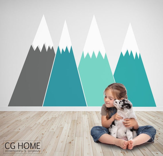 headboard MOUNTAIN view Christmas Snow mountain for kids big wall washable decal CGhome