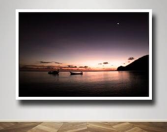 Photograph - Fishermen boats Silhouette Korovou Island Fiji Ocean Sunset Fine Art Photography Print Wall Art Home Decor