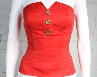 1980s 1990s Guy Laroche Corset bustier Red tube top cotton 40