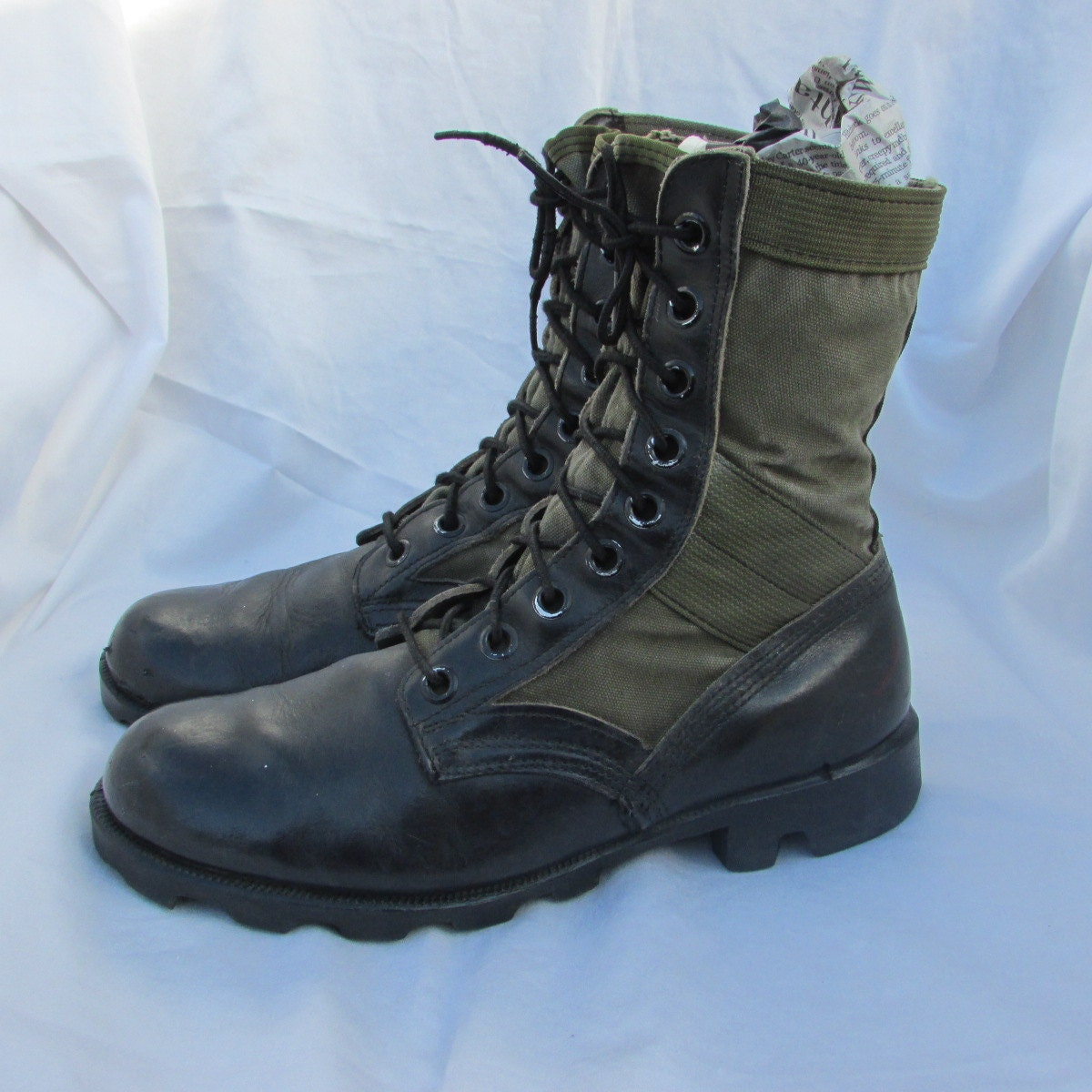 mens 8 womens 10 black leather canvas combat boots