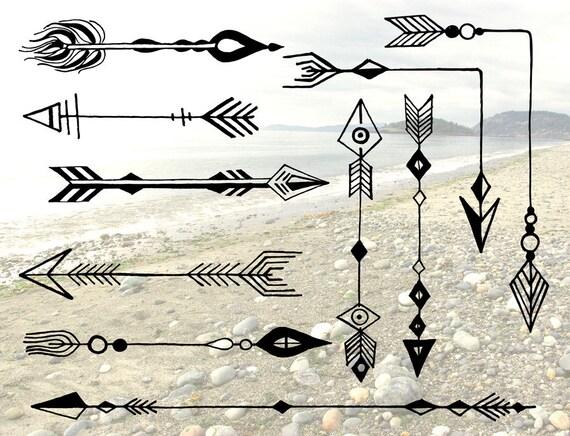 BOHEMIAN ARROWS Clip Art & Vectors Corner Arrows Hand