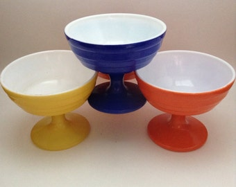 Vintage Set of Four Footed Ice Cream Dishes